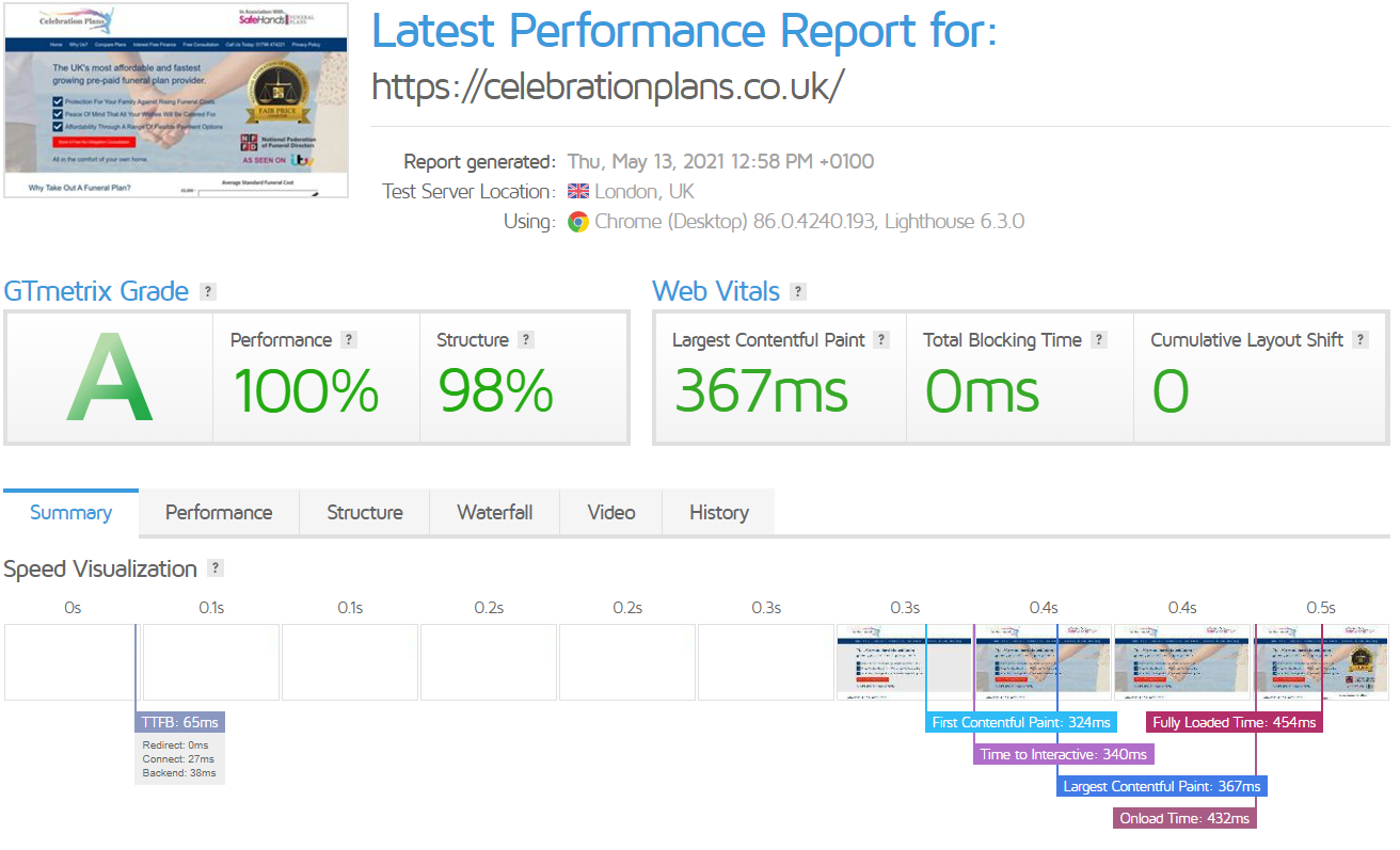 Latest Performance Report for- https---celebrationplans-co-uk- - GTmetrix 13-05-2021 12-59-38