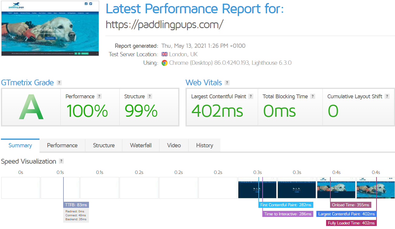 Latest Performance Report for- https---paddlingpups-com- - GTmetrix 13-05-2021 13-27-25